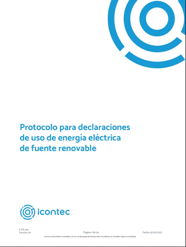 Protocolo para declaraciones de uso de energía eléctrica de fuente renovable