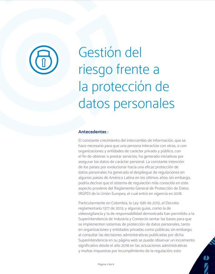 Gestión del riesgo frente a la protección de datos personales